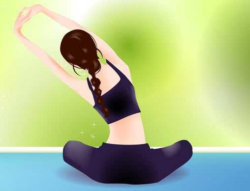 练瑜伽的女孩背影图片